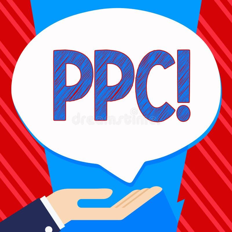 Begreppsmässig handhandstil som visar Ppc Lön för affärsfototext per klicken som annonserar direkt trafik för strategier till Web royaltyfri illustrationer