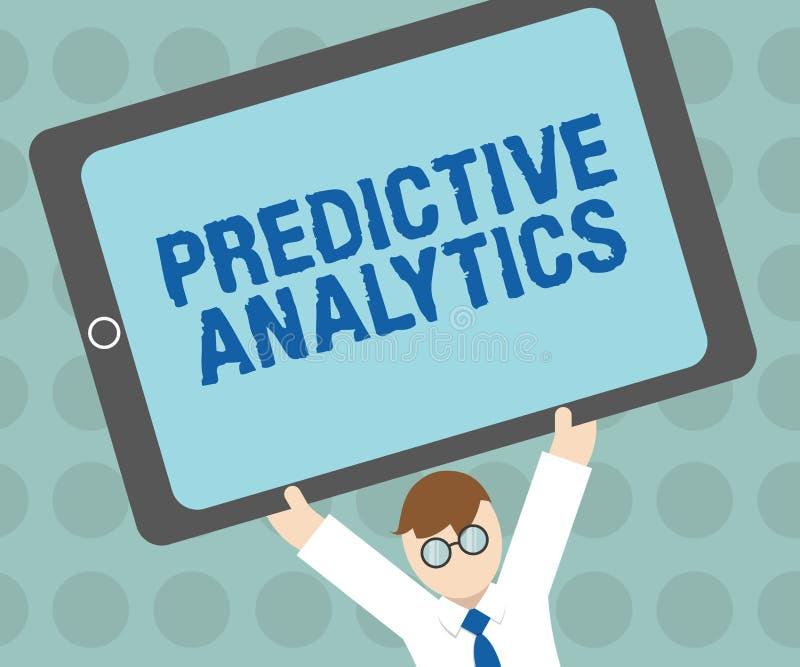 Begreppsmässig handhandstil som visar Predictive Analytics Affärsfototext optimerar samlingen uppnår CRMIdentify stock illustrationer