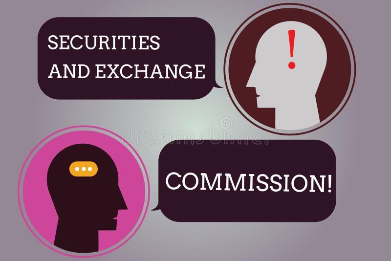 Begreppsmässig handhandstil som visar säkerhets- och utbyteskommissionen Säkerhet för affärsfototext som utbyter kommissioner vektor illustrationer