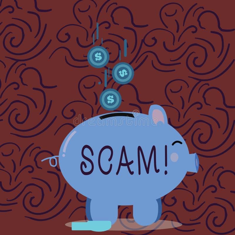 Begreppsmässig handhandstil som visar Scam Affärsfoto som ställer ut ohederligt folk för handlingsbedrägeritrick för framställnin stock illustrationer