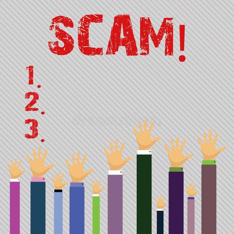 Begreppsmässig handhandstil som visar Scam Folk för trick för bedrägeri för handling för affärsfototext ohederligt för framställn stock illustrationer