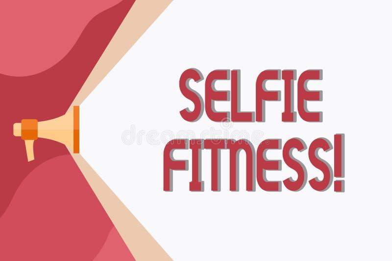 Begreppsmässig handhandstil som visar Selfie kondition Affärsfoto som ställer ut ta bilder av honom under genomkörare eller vektor illustrationer