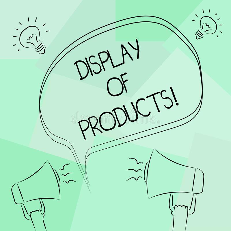 Begreppsmässig handhandstil som visar skärm av produkter Väg för affärsfototext att tilldra och locka köpande allmänhet som använ stock illustrationer