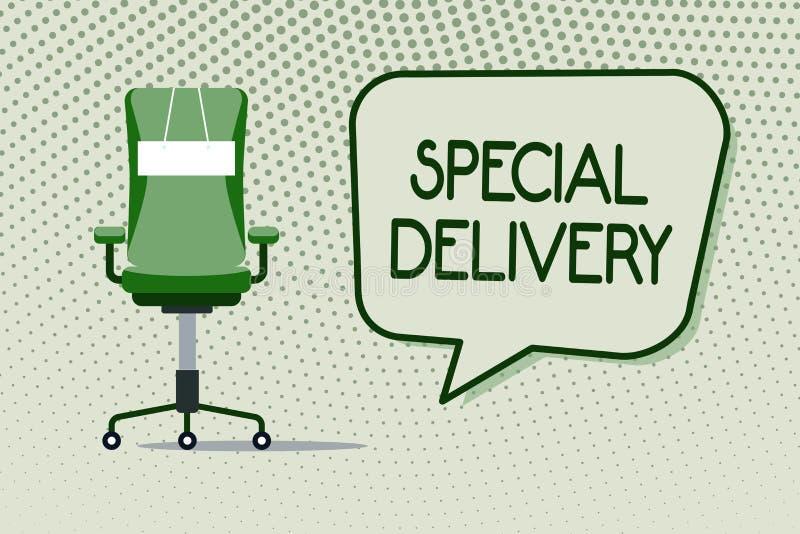 Begreppsmässig handhandstil som visar special leverans Affärsfoto som ställer ut få produkter eller service direkt till ditt stock illustrationer