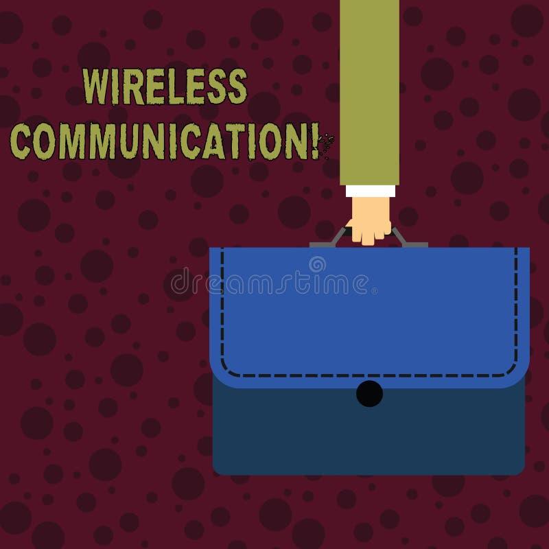 Begreppsmässig handhandstil som visar trådlös kommunikation Affärsfototext som meddelar mellan apparater genom att använda a royaltyfri illustrationer