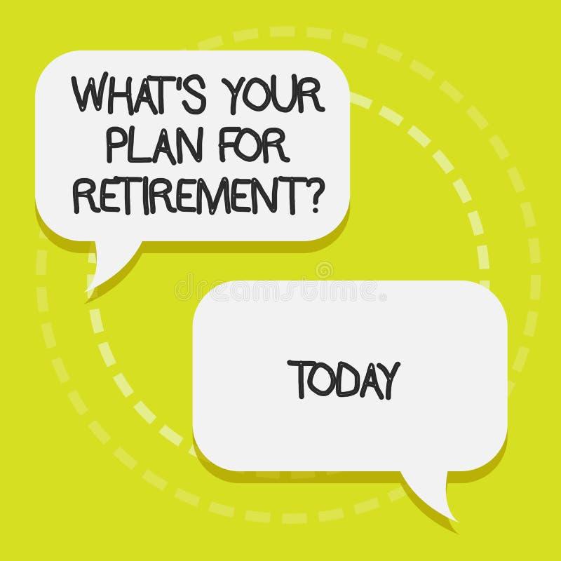 Begreppsmässig handhandstil som visar vilket S ditt plan för Retirementquestion Affärsfototext tänkte några plan när dig royaltyfri illustrationer