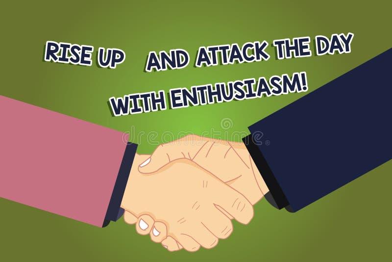 Begreppsmässig handhandstiluppvisning stiger upp och anfaller dagen med entusiasm Att ställa ut för affärsfoto är entusiasten vektor illustrationer