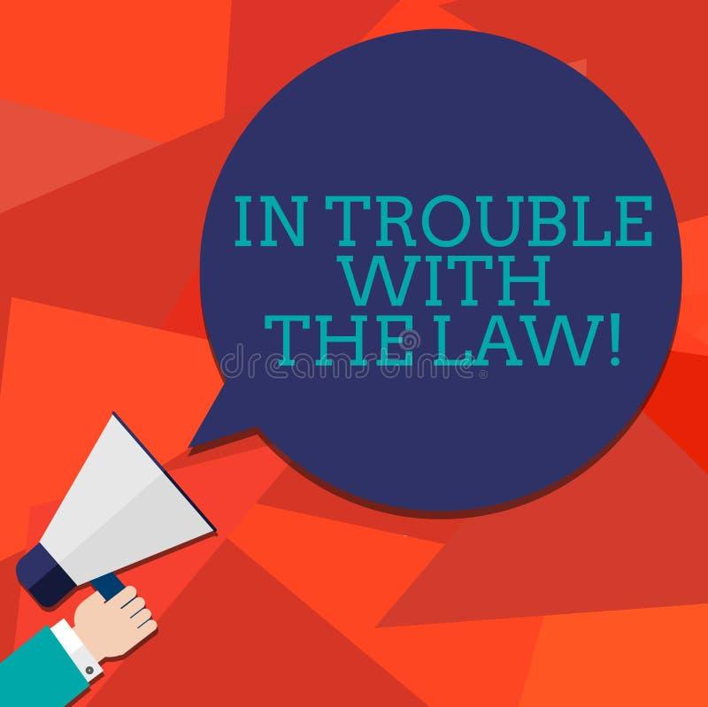 Begreppsmässig handhandstilvisning i problem med lagen Affärsfoto som ställer ut brotts- brottsliga handlingar för lagliga proble stock illustrationer