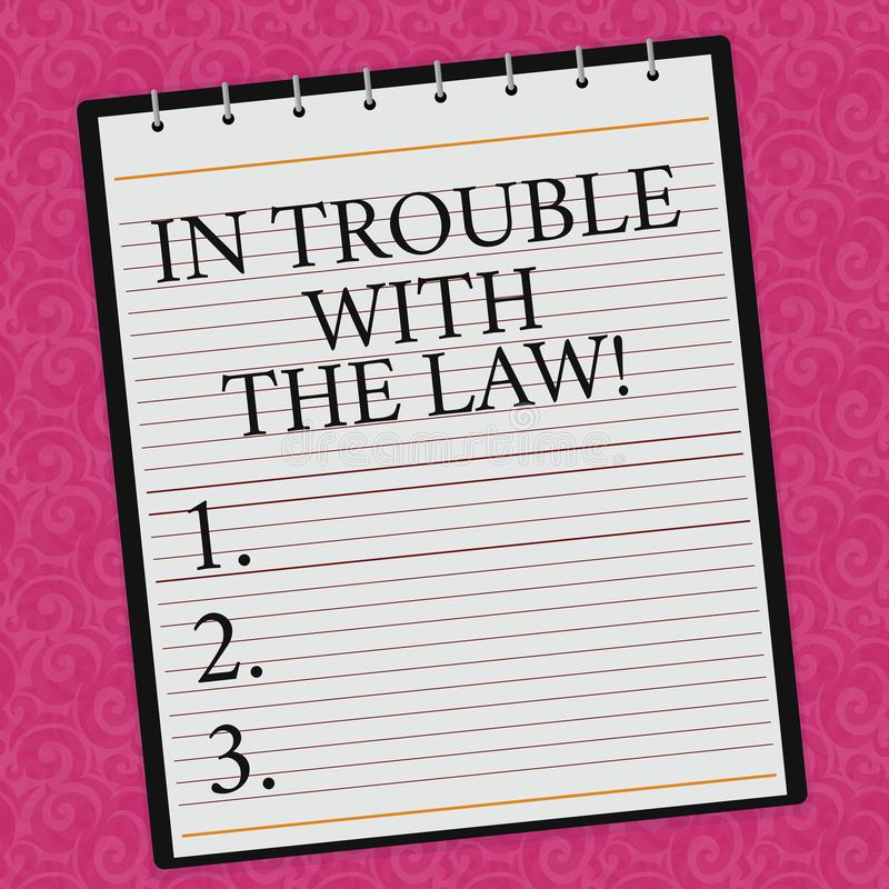 Begreppsmässig handhandstilvisning i problem med lagen Affärsfoto som ställer ut rättvisa för brottsliga handlingar för lagliga p stock illustrationer