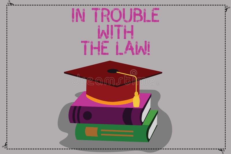 Begreppsmässig handhandstilvisning i problem med lagen Handlingar för lagliga problem för affärsfototext brotts- brottsliga royaltyfri illustrationer