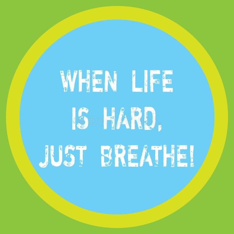 Begreppsmässig handhandstilvisning, när liv är hårt precis att andas Att ställa ut för affärsfoto tar ett avbrott för att övervin vektor illustrationer