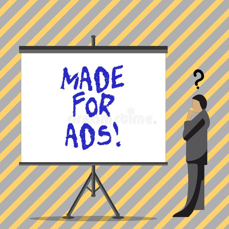 Begreppsmässig handhandstilvisning som göras för annonser Designer för strategier för marknadsföring för affärsfototext för en ak stock illustrationer