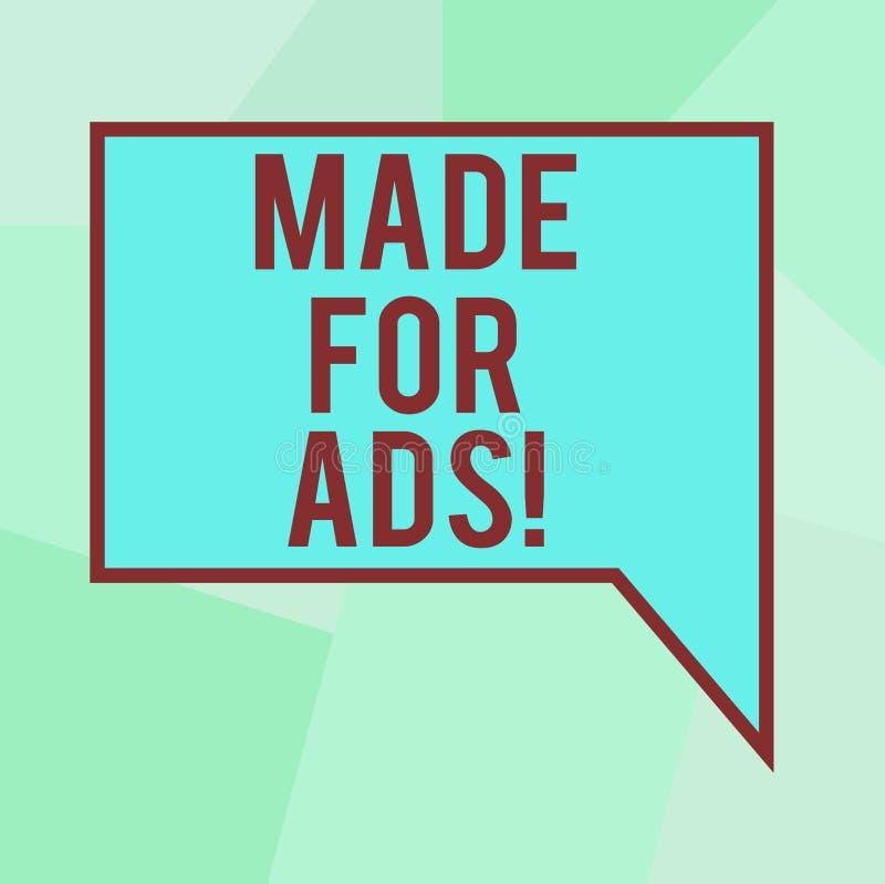 Begreppsmässig handhandstilvisning som göras för annonser Designer för strategier för marknadsföring för affärsfototext för ett a stock illustrationer
