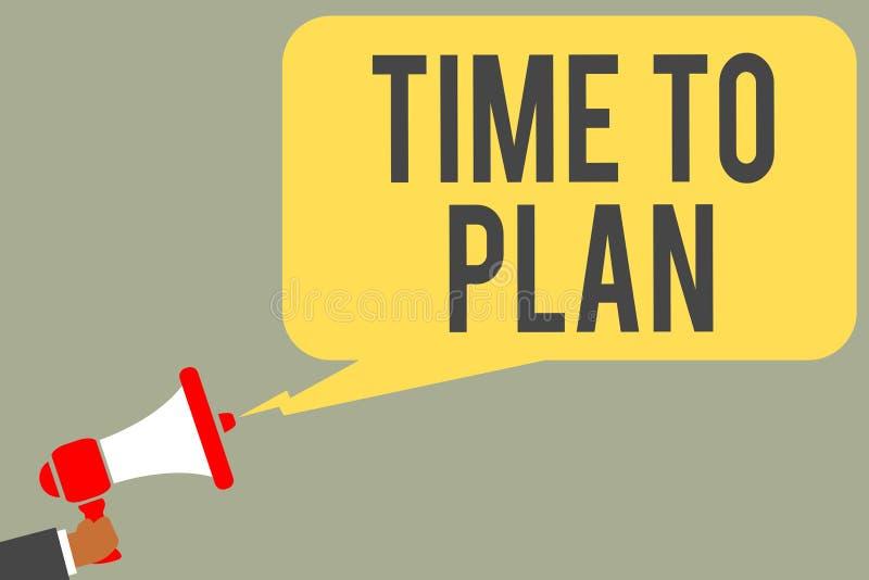 Begreppsmässig handhandstilvisning Tid som ska planeras Förberedelse för affärsfototext av saker som får klar funderare som andra stock illustrationer