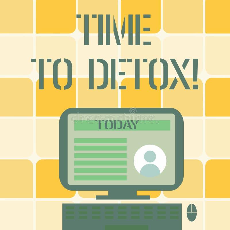 Begreppsmässig handhandstilvisning Tid till detoxen Affärsfototext, när du renar din kropp av toxin eller stoppar att konsumera vektor illustrationer