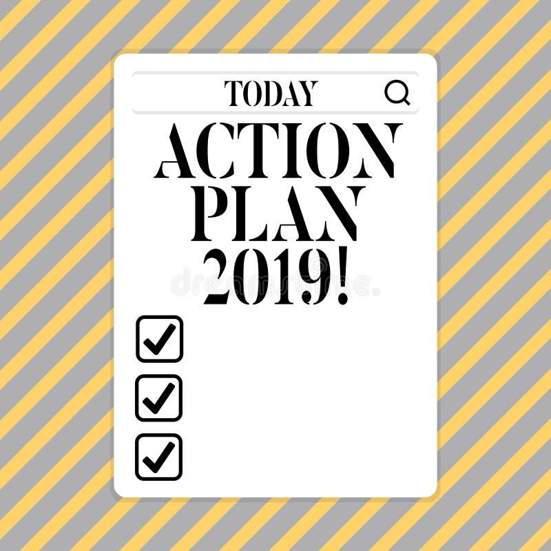 Begreppsmässig handlingsplan 2019 för handhandstilvisning Affärsfoto som ställer ut för att göra listan i mål för upplösning för  royaltyfri illustrationer