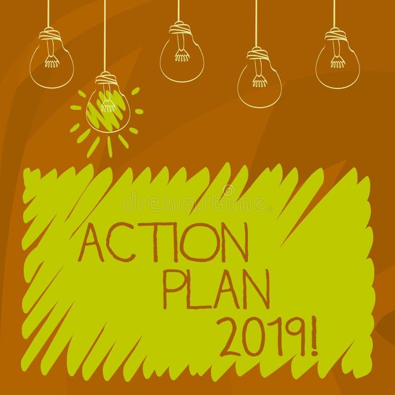 Begreppsmässig handlingsplan 2019 för handhandstilvisning Affärsfoto som ställer ut för att göra listan i mål för upplösning för  vektor illustrationer