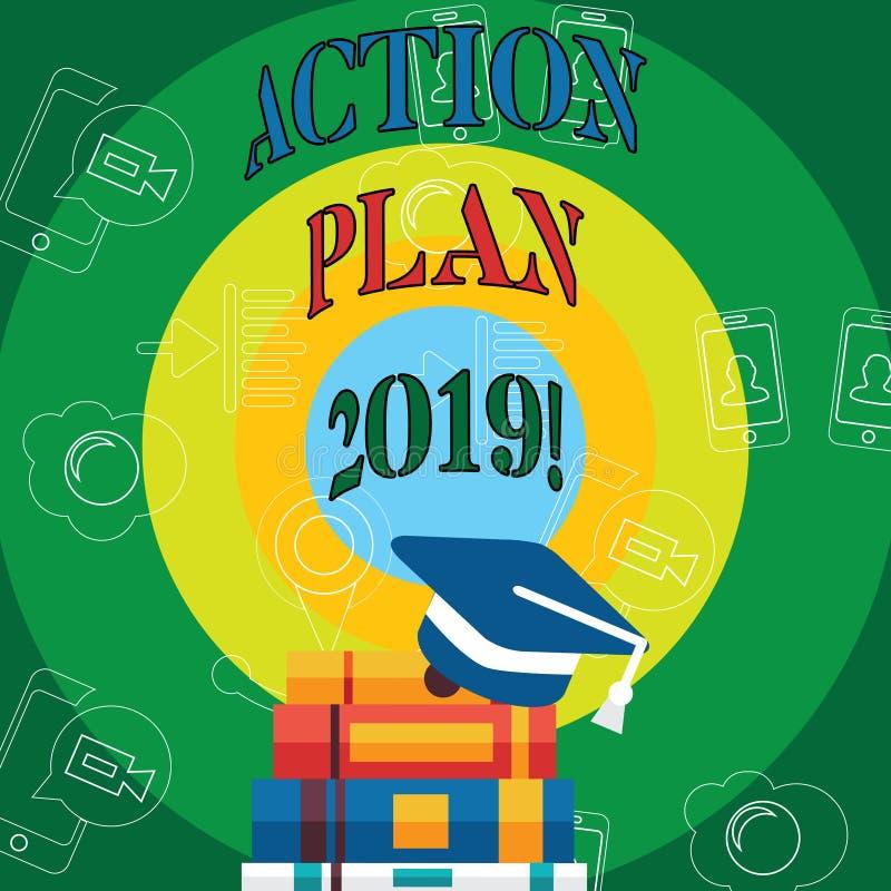 Begreppsmässig handlingsplan 2019 för handhandstilvisning Affärsfototext som gör listan i mål för upplösning för nytt år för nytt stock illustrationer