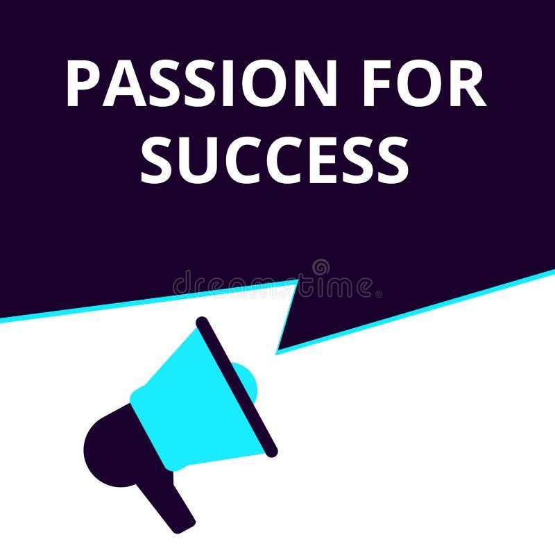 Begreppsmässig handstil som visar passion för framgång stock illustrationer