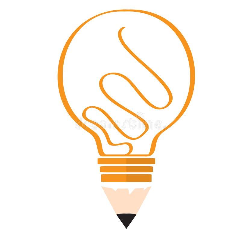 Begreppsmässig idélightbulb med blyertspennaform royaltyfri illustrationer