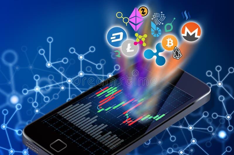 Begreppsmässig illustration av cryptocurrencylogoer som kommer ut ur a vektor illustrationer