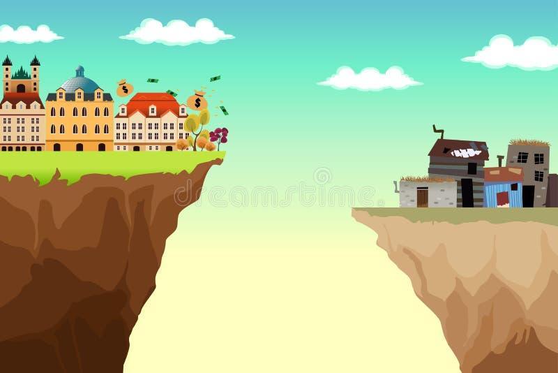 Begreppsmässig illustration av Gap mellan rikt och fattigt royaltyfri illustrationer