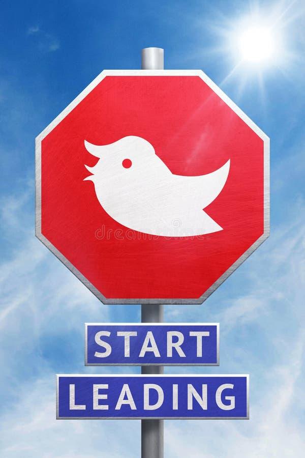 Begreppsmässig illustration 3D av ett stopptecken med en kvittrandefågel framme av en blå himmel royaltyfri illustrationer