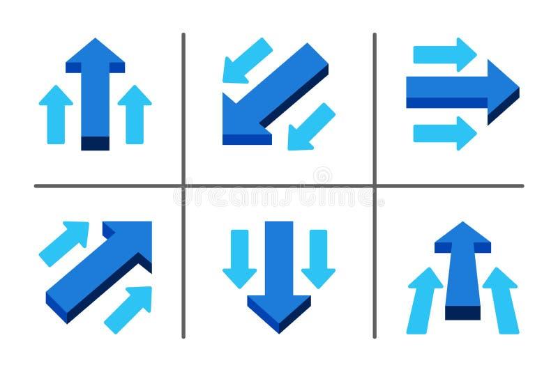 Begreppsmässig illustration för pil och vektoruppsättning vektor illustrationer
