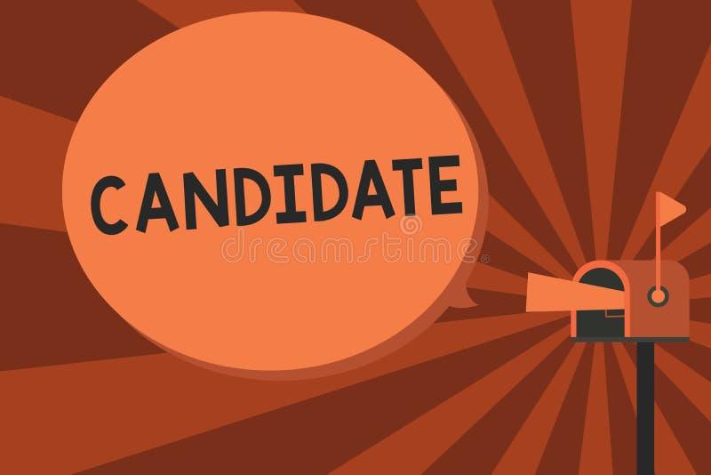 Begreppsmässig kandidat för handhandstilvisning Affärsfototext som visar, som applicerar för jobb eller nomineras för vektor illustrationer