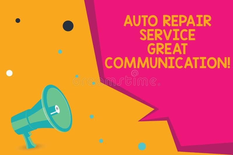 Begreppsmässig kommunikation för service för automatisk reparation för handhandstilvisning stor Tekniker för mekaniker för bil fö stock illustrationer
