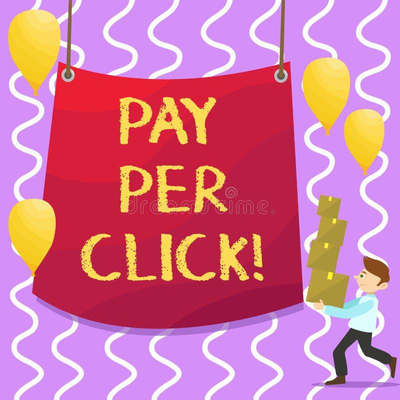 Begreppsmässig lön för handhandstilvisning per klick Att ställa ut för affärsfoto får pengar från besökareannonser som annonserar vektor illustrationer