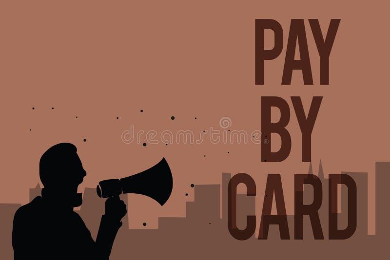 Begreppsmässig lön för handhandstilvisning vid kortet Betalningar för affärsfototext på kreditering debiterar den elektroniska fa royaltyfri illustrationer