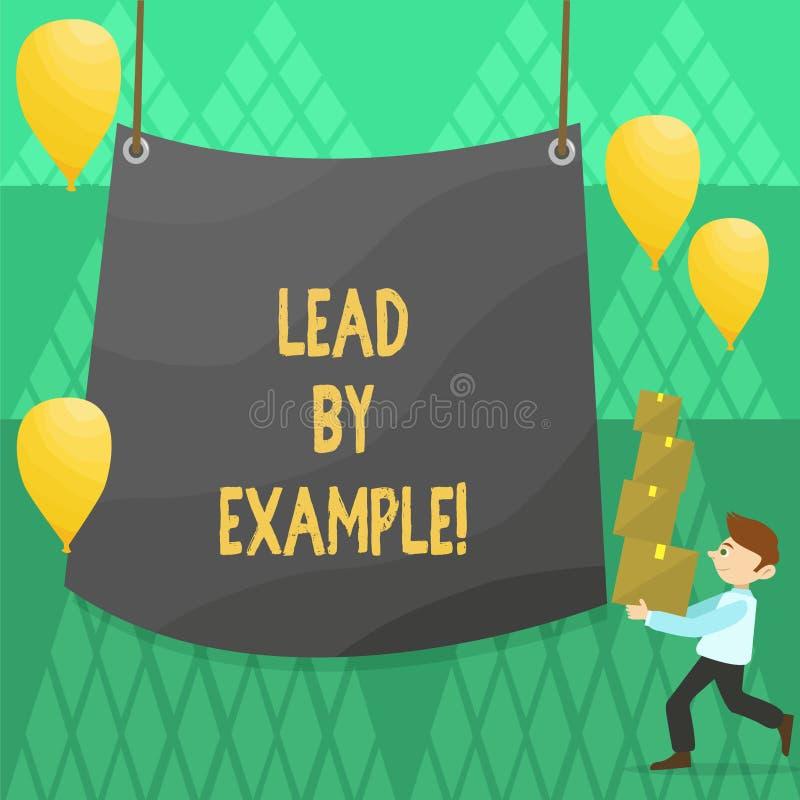 Begreppsmässig ledning för handhandstilvisning vid exempel Affärsfoto som ställer ut organisation för ledarskapledningmentor royaltyfri illustrationer