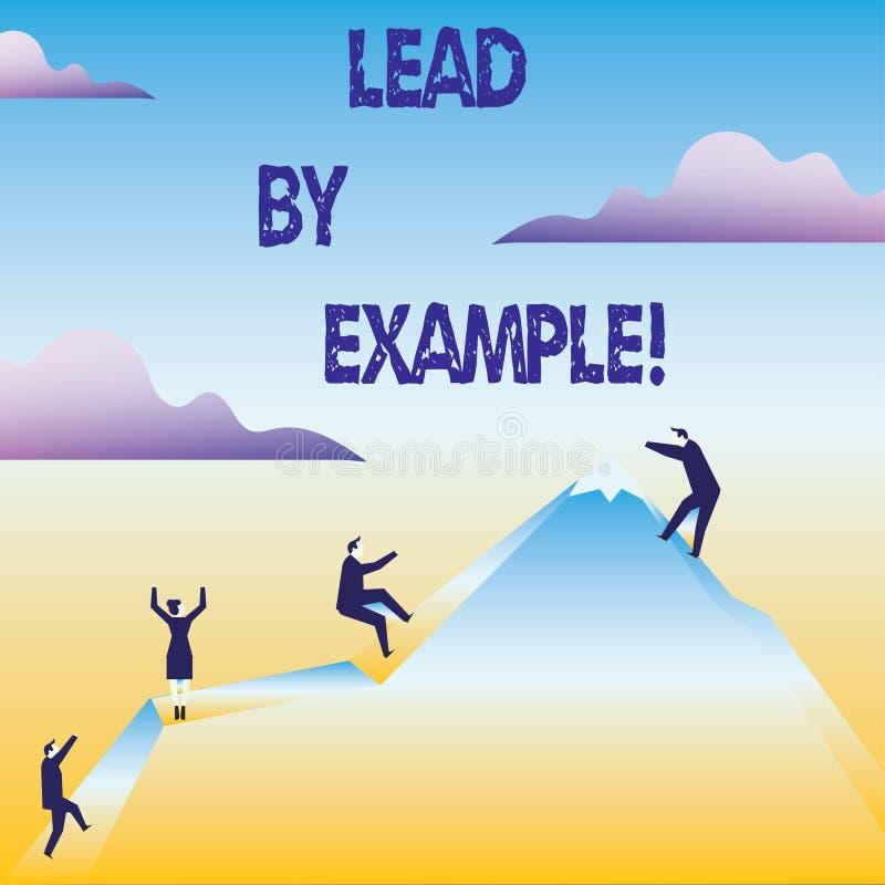 Begreppsmässig ledning för handhandstilvisning vid exempel Organisation för mentor för ledning för ledarskap för affärsfototext royaltyfri illustrationer