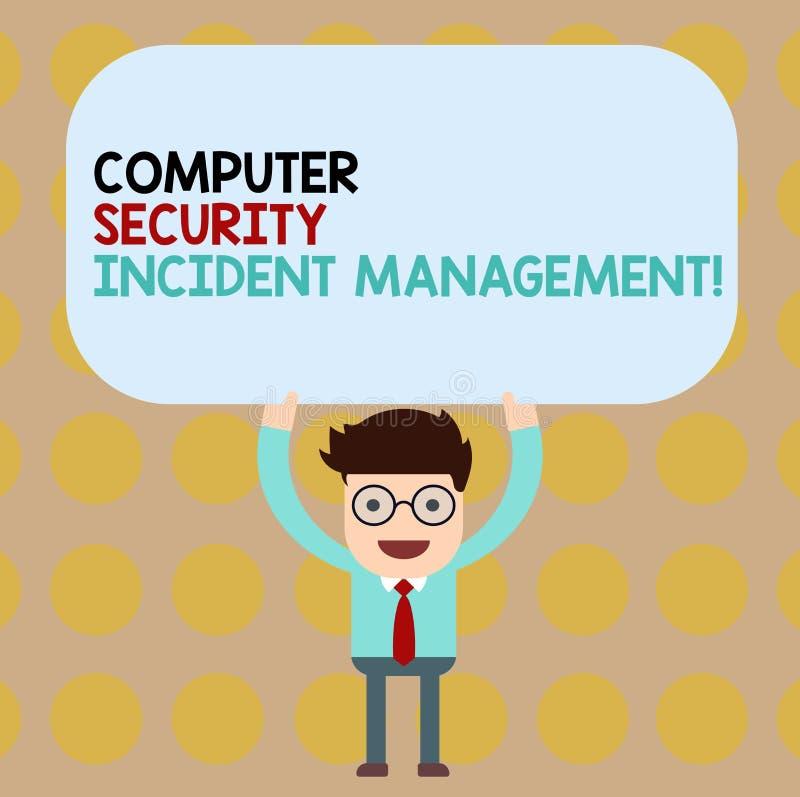 Begreppsmässig ledning för säkerhet för dator för handhandstilvisning infallande Affärsfoto som ställer ut säker cyberteknologi stock illustrationer