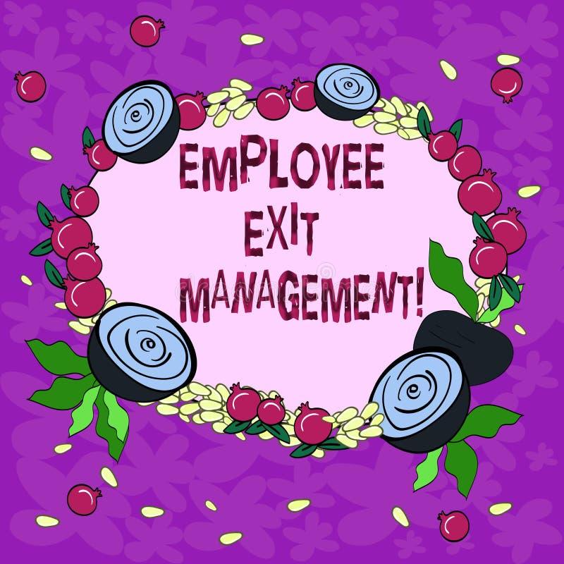 Begreppsmässig ledning för utgång för anställd för handhandstilvisning Affärsfoto som ställer ut avskiljandeprocess när anställd stock illustrationer