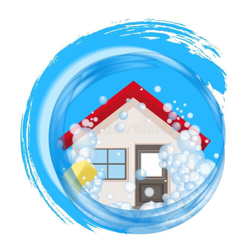 Begreppsmässig logo för rengöringhem Huset i skum i vattnet royaltyfri illustrationer