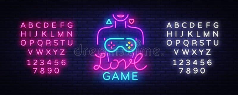Begreppsmässig logo för videospelvektor Tecken för neon för förälskelselek, modern trenddesign, ljus vektorillustration som är be stock illustrationer