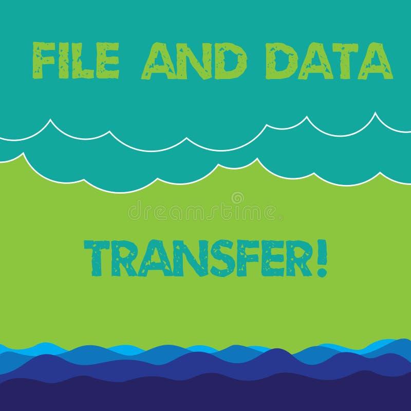 Begreppsmässig mapp för handhandstilvisning och dataöverföring Överförande information om affärsfototext direktanslutet vid stock illustrationer