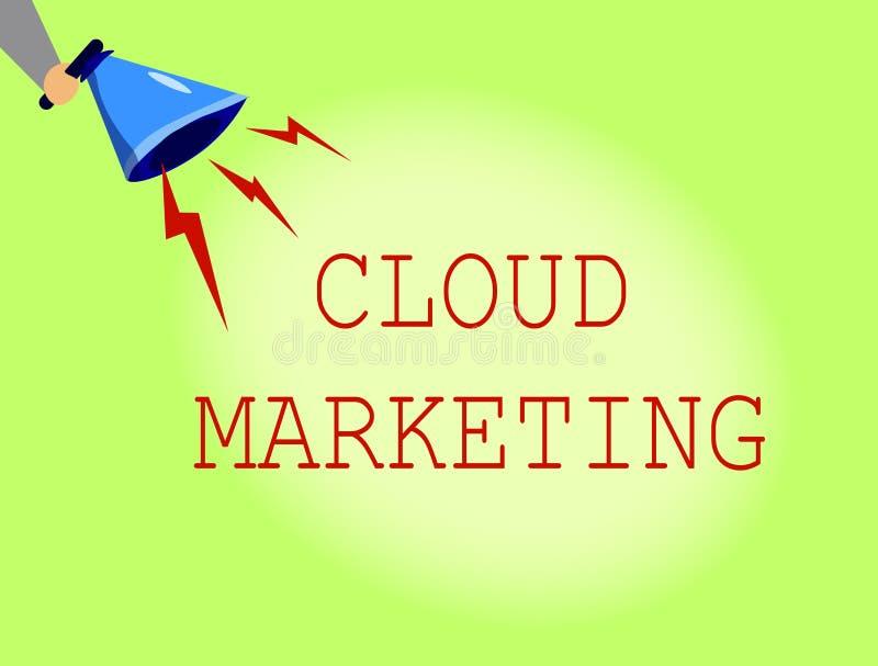 Begreppsmässig marknadsföring för moln för handhandstilvisning Affärsfoto som ställer ut processen av en organisation för att mar vektor illustrationer