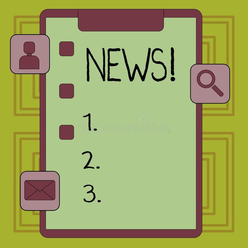 Begreppsmässig nyheterna för handhandstilvisning Affärsfoto som ställer ut information om händelser för rapport ny okänd föregåen vektor illustrationer