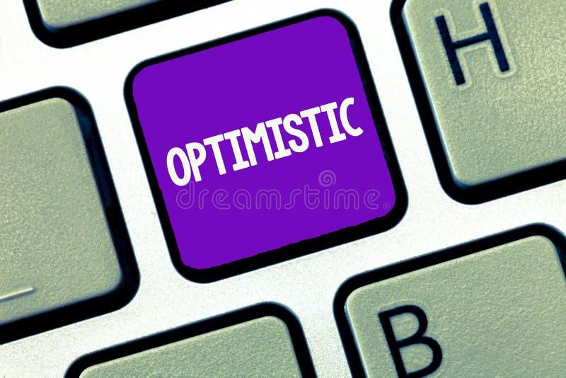 Begreppsmässig optimistisk handhandstiluppvisning Lovande person för affärsfototext och säkert om framtida positivt tänka arkivfoton