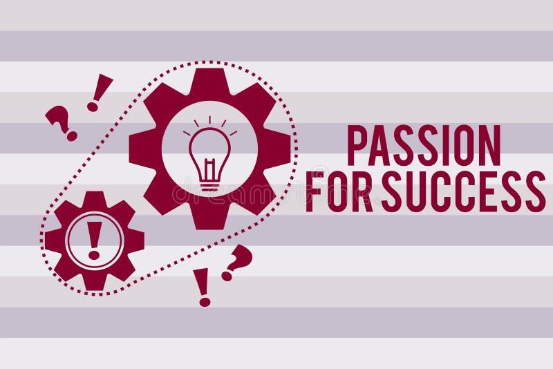 Begreppsmässig passion för handhandstilvisning för framgång Etik för ande för motivation för drev för iver för entusiasm för affä stock illustrationer