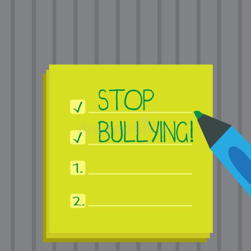 Begreppsmässig pennalism för stopp för handhandstilvisning Att ställa ut för affärsfoto fortsätter inte anfall för missbrukmobbni royaltyfri bild