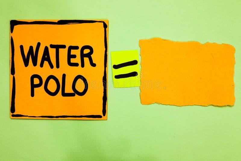 Begreppsmässig polo för vatten för handhandstilvisning Sporten för laget för affärsfototext spelade den konkurrenskraftiga i vatt vektor illustrationer