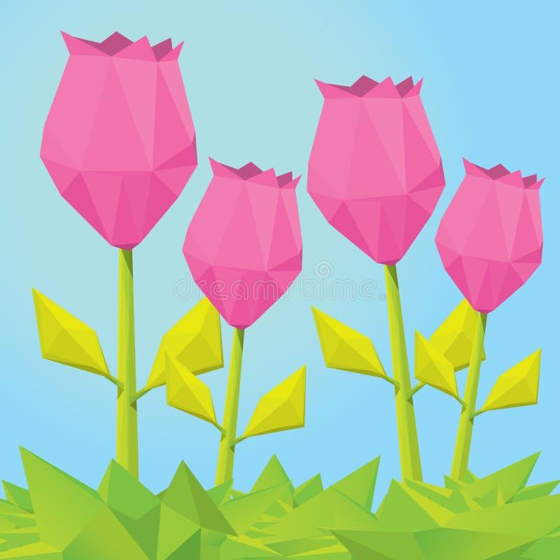 Begreppsmässig polygonal rosa färgvårblomma royaltyfri illustrationer