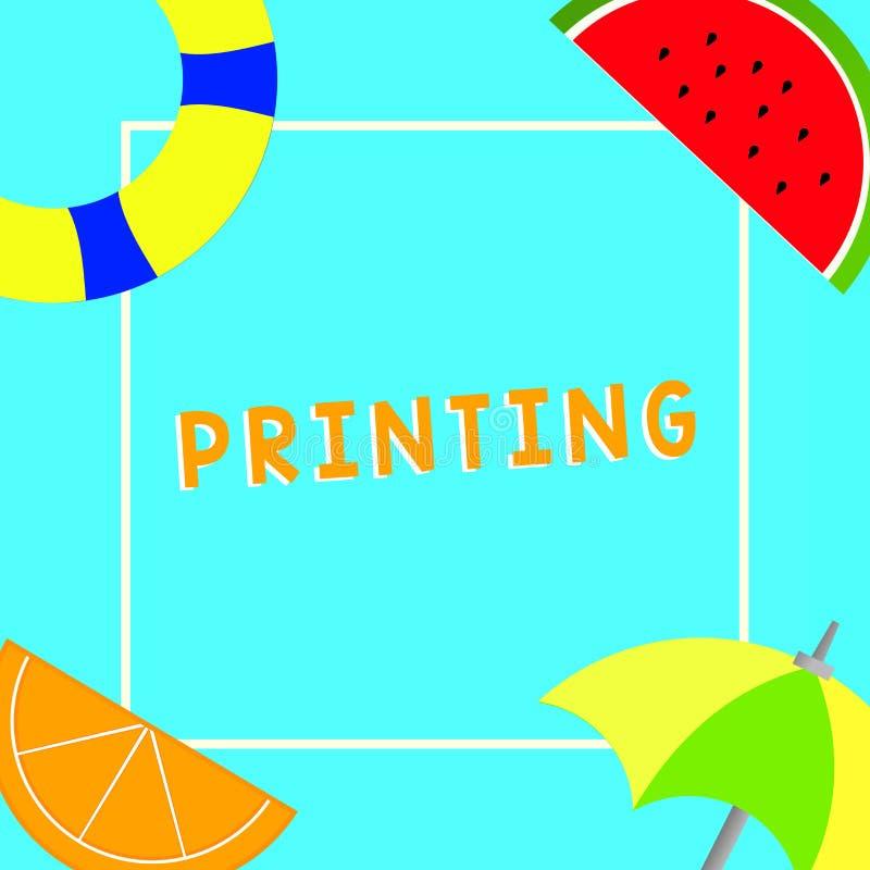 Begreppsmässig printing för handhandstilvisning Produktion för affärsfototext av boktidningar eller annat utskrivavet material vektor illustrationer