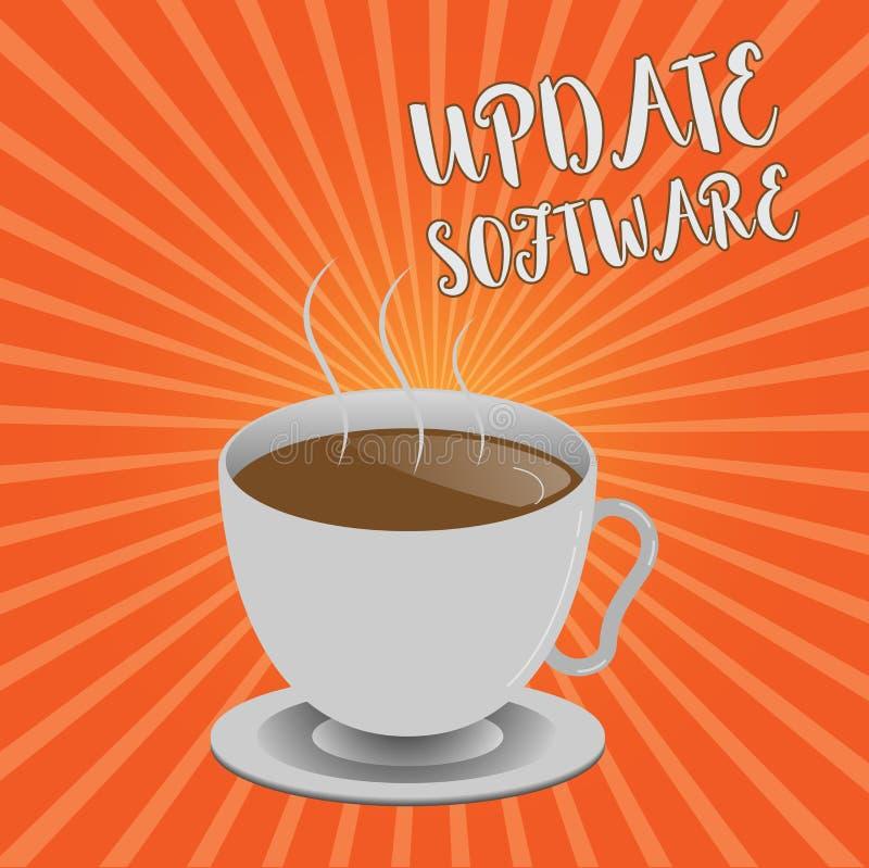 Begreppsmässig programvara för uppdatering för handhandstilvisning Affärsfoto som ställer ut byta ut program med en nyare version vektor illustrationer