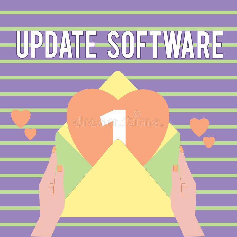 Begreppsmässig programvara för uppdatering för handhandstilvisning Affärsfoto som ställer ut byta ut program med en nyare version royaltyfri illustrationer