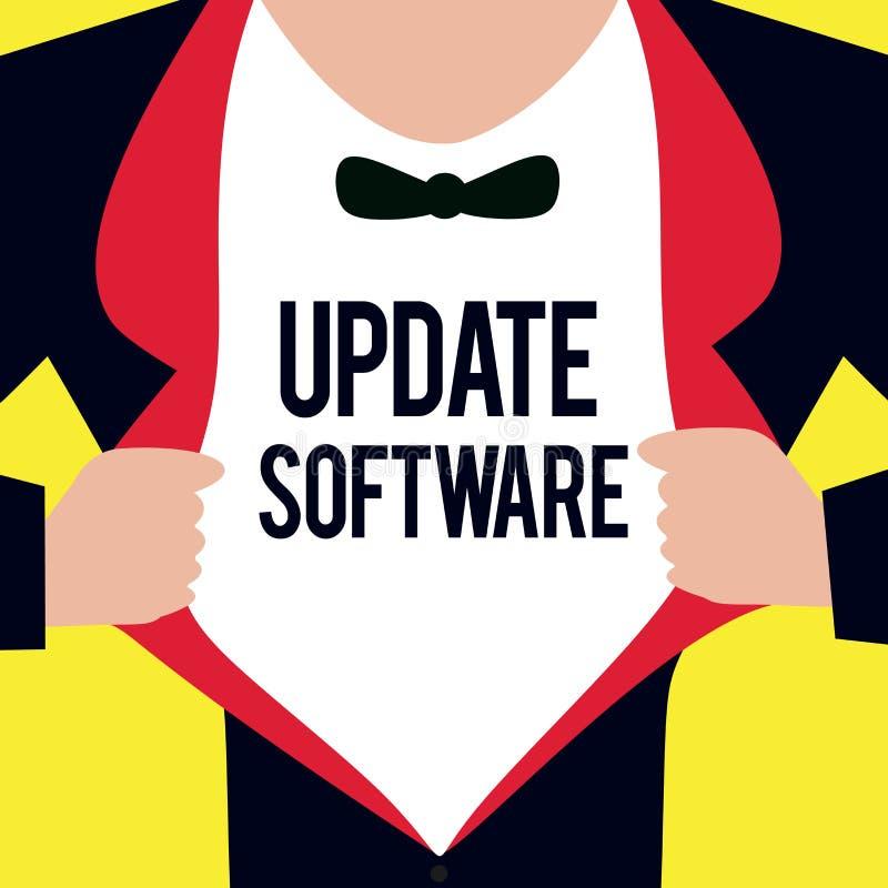 Begreppsmässig programvara för uppdatering för handhandstilvisning Affärsfoto som ställer ut byta ut program med en nyare version stock illustrationer